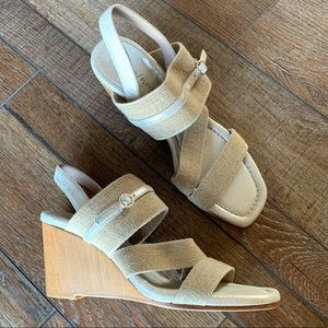 Donald Pliner Linen Metallic Wedge Sandal